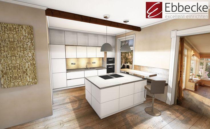 Küchenplanung mit Emotionsmaterialien wie Moos und Vergoldete Korkbaumrinde