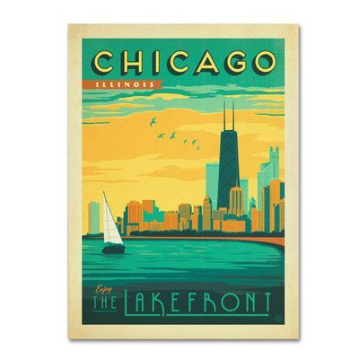 "Trademark Art ""Chicago II"" by Anderson Design Group Graphic Art on Wrapped Canvas Size: 24"" H x 18"" W x 2"" D"