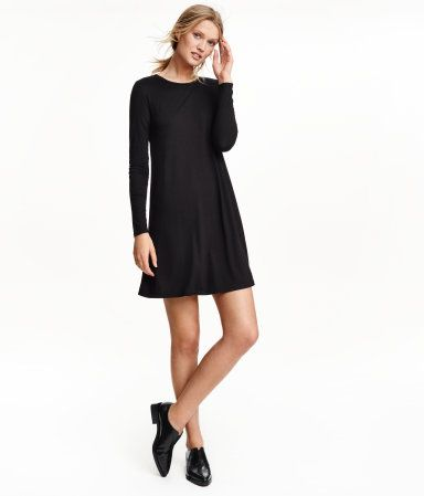 Check this out! Short dress in soft jersey with long sleeves and a gently flared skirt. - Visit hm.com to see more.
