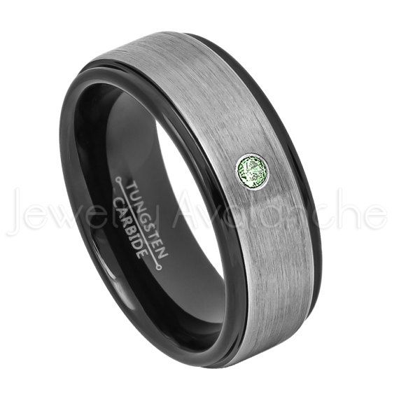 2-Tone Tungsten Ring 0.07ct Alexandrite Solitaire Ring June