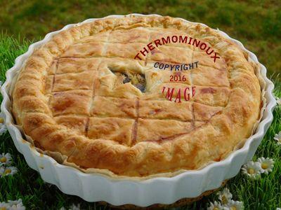 CROUSTADE AUX CHAMPIGNONS (thermomix) (mettre du canard confit avec!) 400 g de pâte feuilletée 4 gousses d'aile 10 g d'huile d'olive 300 g d'eau 750 g de champignons 2 c à c d'herbes de Provence 1/4 c à c de sel poivre 2 œufs 20 g de farine 100 g de crème fraiche épaisse 10 g de lait