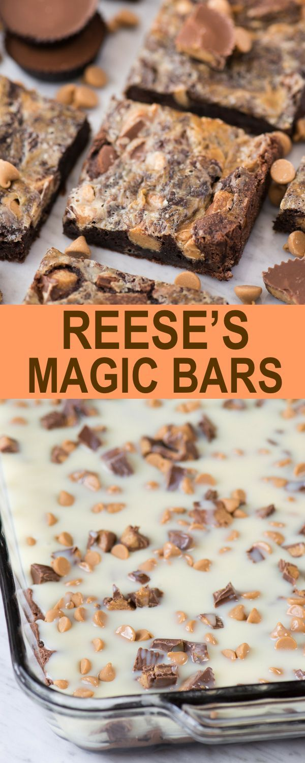 Reese S Brownies With Sweetened Condensed Milk An Easy Party Dessert Known As Reese S Magic Bars Easy Party Desserts Reeses Desserts Easy Bar Recipes