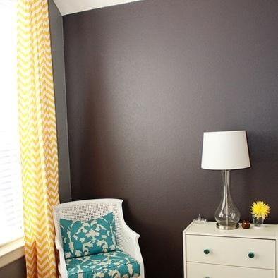 Gray walls yellow chevron curtains turquoise accents j - Turquoise and yellow curtains ...