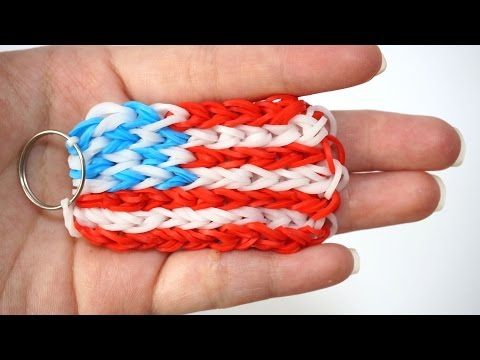 America Flag Rainbow Loom Key Ring - DIY keychain tutorial easy - YouTube