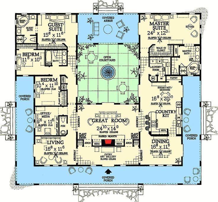 Plan 81384w Open Courtyard Dream Home Plan Courtyard