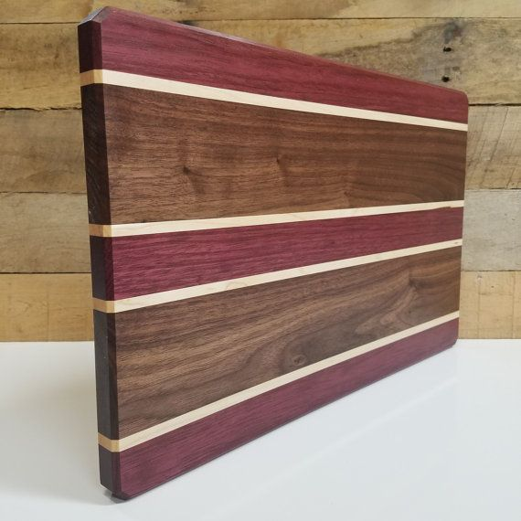 Wood Cutting Board Walnut Maple and Purple Heart by MWAWoodworks