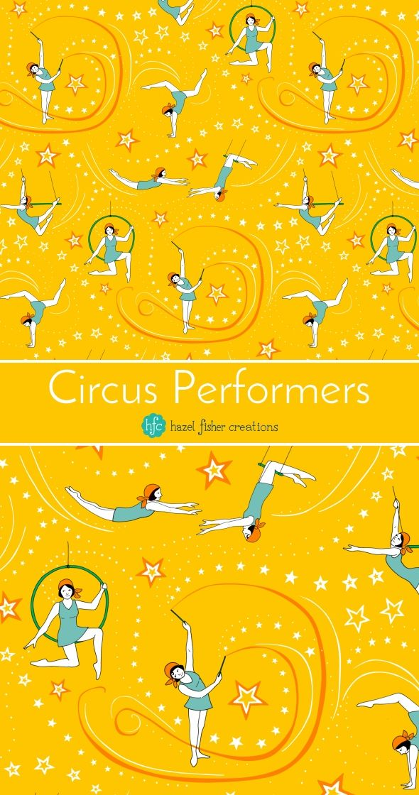 Circus Performers 1920s Acrobatic Girls fabric design by Hazel Fisher Creations, Spoonflower weekly design challenge entry, surface pattern designn