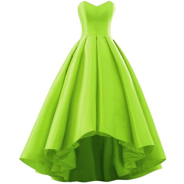 Fluorodine Women Sweetheart Short Front Long Back A Line High Low Prom... ($120) ❤ liked on Polyvore featuring dresses, green high low dress, high low prom dresses, homecoming dresses, a line dress and green a line dress