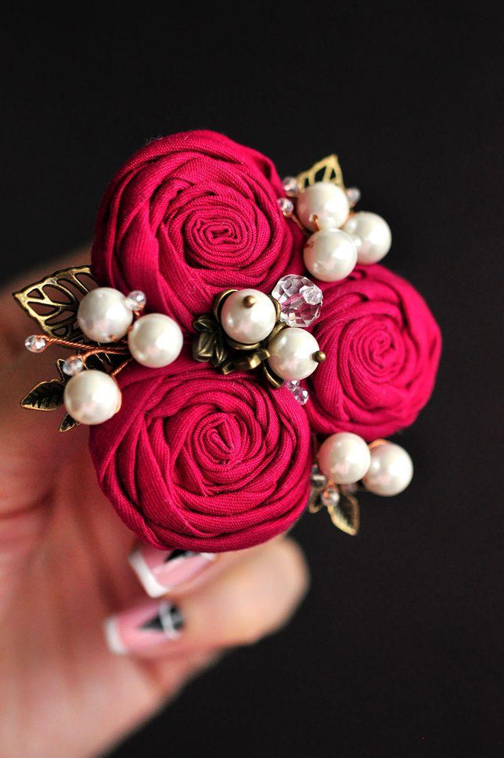 """Fabric brooch   Брошь """"Малина"""" - комбинированный, малиновый, брошь, брошь цветок, цветы из ткани, ткань, жемчуг"""
