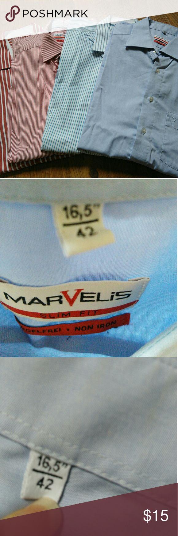 "MARVELIS 4xBusiness Shirts 16.5'' MARVELIS Business Shirts Four different colours 16.5"" marvelis Shirts Dress Shirts"