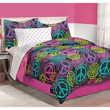 pink zebra print hello kitty peace sign bedroom | Latitude Neon Peace Bedding Comforter Set - Assorted Sizes