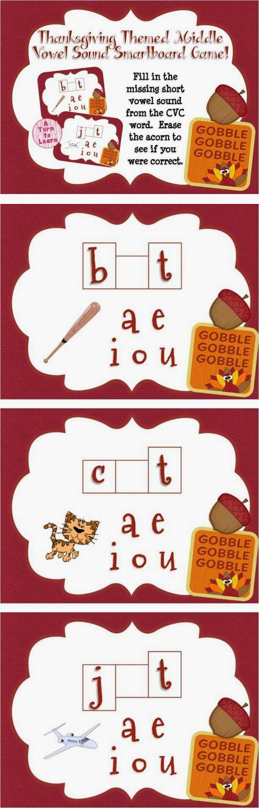 This thanksgiving themed smartboard/promethean board game is the perfect way to have your students practice middle short vowel sounds - just have your students drag the missing vowel into the word shape and erase the acorn to see if you're correct!