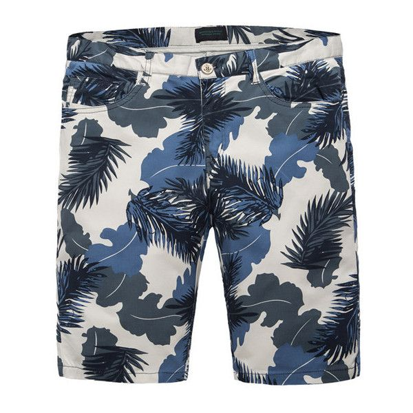 Summer Mens Blue Floral Printing Straight knee-Length Casaul Cotton... ($22) ❤ liked on Polyvore featuring men's fashion, men's clothing, men's shorts, mens blue jean shorts, mens summer shorts, mens floral shorts, mens cotton shorts and mens clothing
