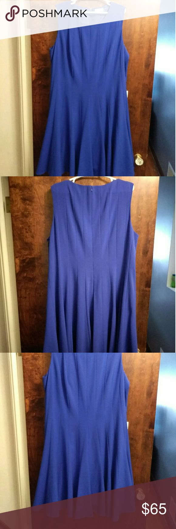 Calvin Klein **Blue** Pleated Dress Plus Size 22W New gorgeous and flattering dress by Calvin Klein.   Slightly fitted in bust Flared at waist A-line skirt Empire waist  Hidden back zipper with hook and eye closure  Polyester/Rayon/spandex; lining: polyester  Retails for $100 Please feel free to ask questions or request more pics. Calvin Klein Dresses