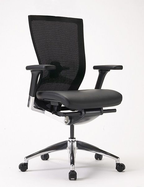 The Harvard Mesh Executive Chair features a sexy mesh back and Leather upholstered seat. The chair features a lockable synchronised swung mechanism, adjustable Lumbar support and seat slide seated.com.au #seated #executive #harvard #boadroom