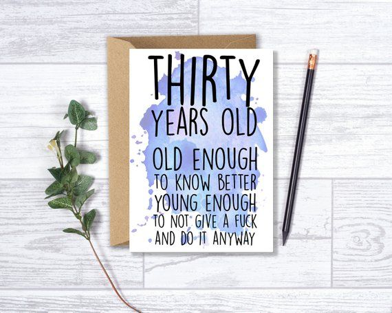 Funny 30th Birthday Card For Him Brother Husband Son 30 Years