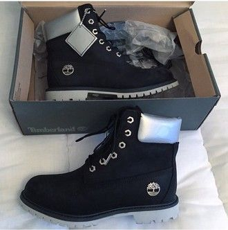 shoes silver black timberlands  timberland boots fuckin ice