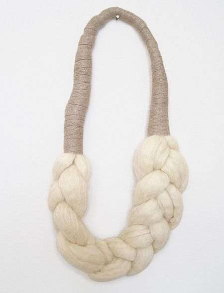 Textiles Jewellery - elsinore carabetta woolbraid necklace; braided jewelry