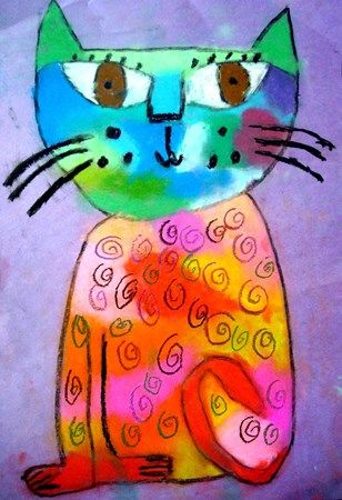 Artsonia Art Museum Guided drawing technique laurel Burch style using chack pastels.  Cool.  Any cat books come to mind?