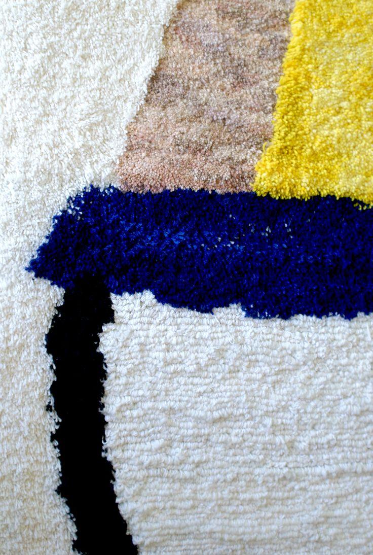 hand woven hand knotted woolen carpet Hoffmann graduation project by Jadwiga Lenart