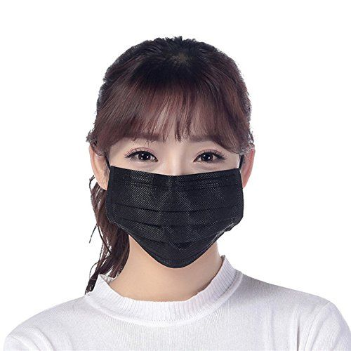 50 Pcs Disposable Earloop Face Masks Germ Dust Protection Four Layer Activated Carbon Filter Face Masks (Black) by Rekukos