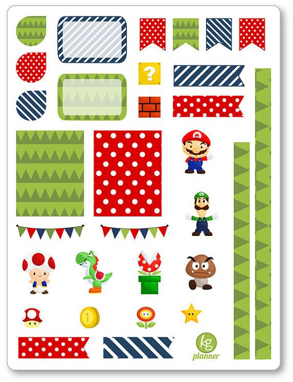 Mario Decorating Kit / Weekly Spread Planner Stickers for Erin Condren Planner, Filofax, Plum Paper
