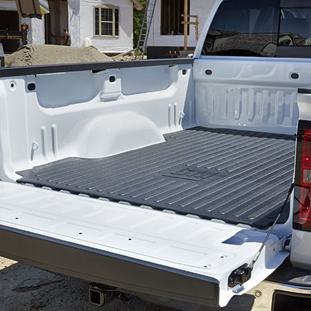 2016 #Silverado 1500 Bed Mat, Black Rubber, #GM Logo, 8ft Long Box: Reduce cargo shifting with this easy-to-install, non-skid, rubber Bed Mat designed to fit the contours of your Silverado precisely. Features the GM logo. Pair it with the Tailgate Liner for total protection.