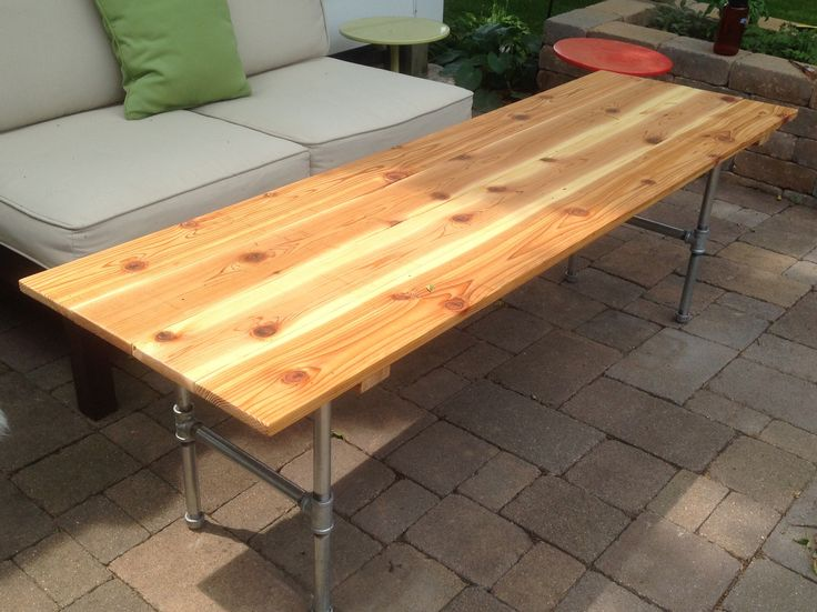 Outdoor Coffee Table Made From Cedar Planks And Galvanized