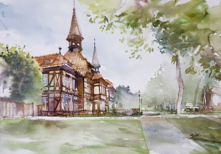 Fachwerk House, 36x51cm, 2009  www.minhdam.com #architecture #watercolor #watercolour #art #artist #painting #torun #poland