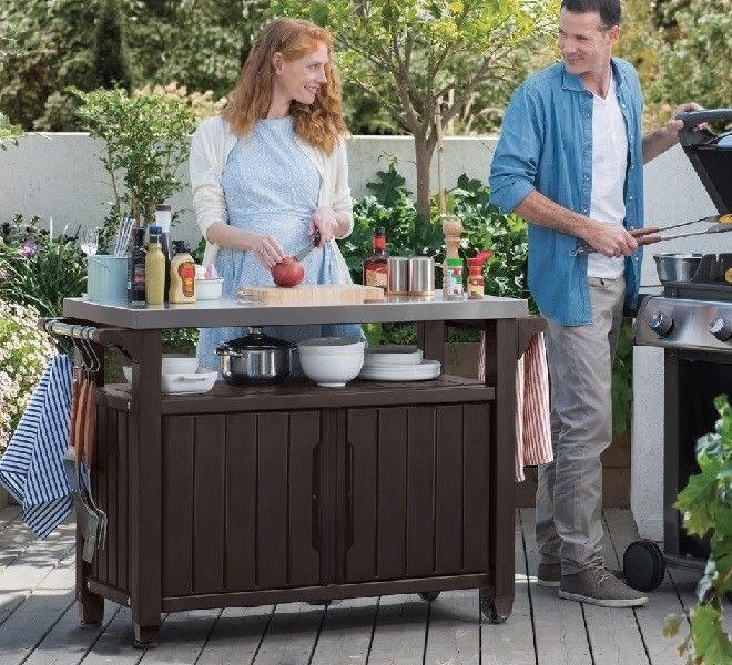 Patio Serving Cart Bbq Storage Cabinet Outdoor Meal Prep Mobile Table Grill Pool Keter In 2020 Outdoor Space Design Outdoor Kitchen Cabinets Mobile Table