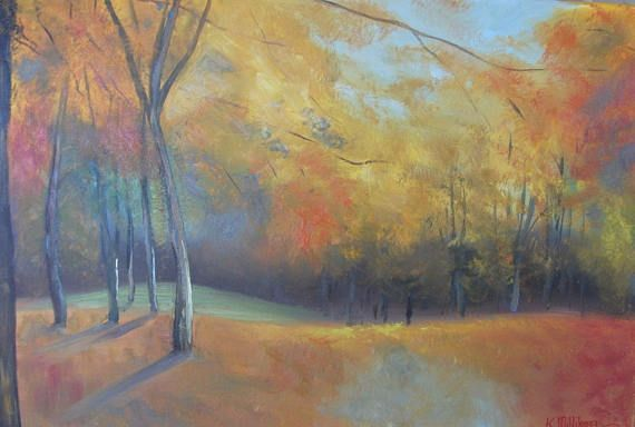 Autumn trees  large painting yellow red russet ochre