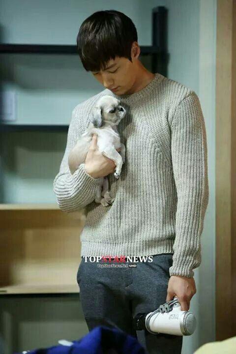 Choi jin hyuk - with adorable puppy.