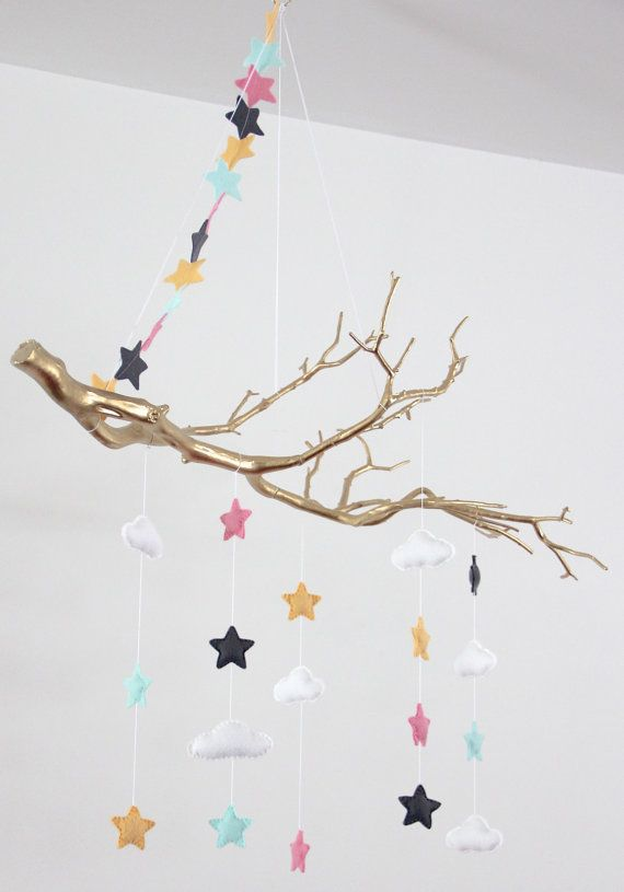 On Sale/Gold Branch Baby Mobile with Stars & Clouds by aprilderek