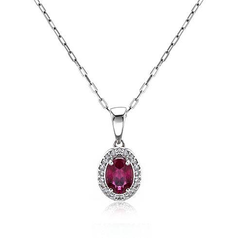 Coriolan - Lantisor cu pandantiv cu rubine si diamante C519