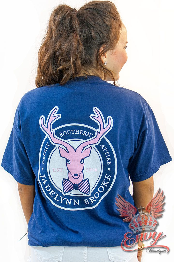 "Jadelynn Brooke Logo Tee in Navy - ""Deerly Southern Attire"" This classic front pocket tee comes straight from the new Jadelynn Brooke collection.  This t-shirt features their signature deer logo on the back with a mini logo on the front pocket. This collection is a must have for any southern girl!    - available online at http://www.envyboutique.us/shop/jadelynn-brooke-logo-tee-navy/ #Envy #Boutique #chic #fashion #fashiontrends #Brooke, #Jadelynn, #Navy,"