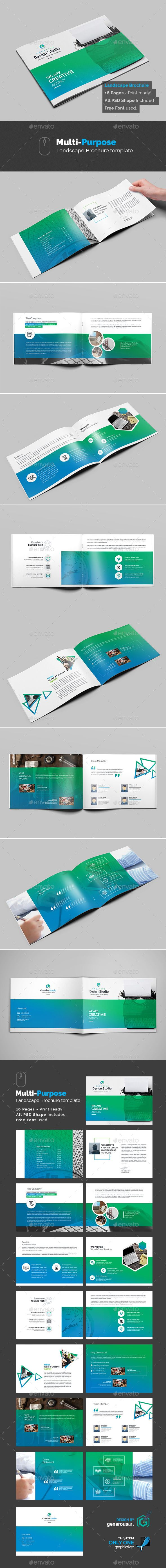 Multi-Purpose Agency Landscape Brochure Template PSD