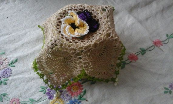 The Pansy Pineapple Sugarbowl/Jug Cover. by LynTheobaldCraft