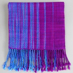 Bean Hill Fiber (represented by Cayuga Artisans)  Hand woven scarf in purple and blue