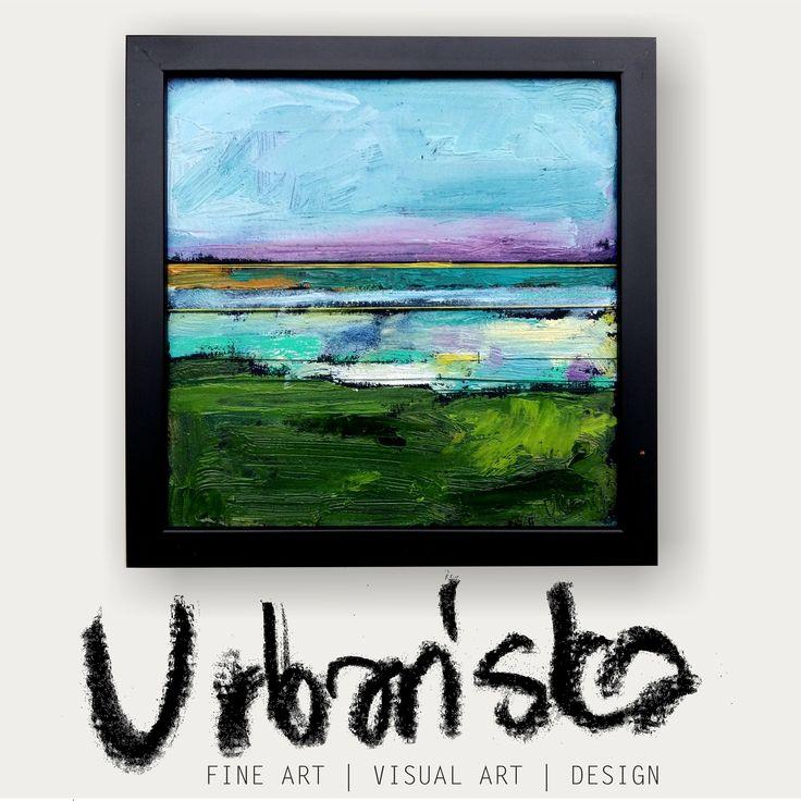 abstract landscape oil painting + artistic textile!Series 25x25cm 11/25 /Obraz olejny abstrakcyjny pejzaż + tkanina artystyczna! Cykl 12/25 by KarolinaBUrbanska on Etsy