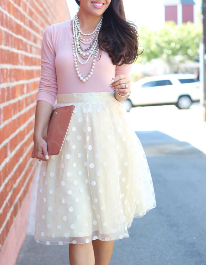 StylishPetite.com | Polka dot tulle skirt, blush long sleeve tee, Ann Taylor crystal pearlized statement necklace, Kate Spade glitter bug clutch, Valetine's Day, tulle skirt - click the photo for outfit details!