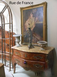 FRENCH ANTIQUE ⁄ VINTAGE MARQUETRY MARBLE TOP- CHEST OF DRAWERS