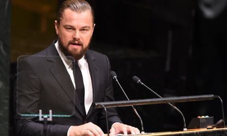Leonardo DiCaprio at the UN: 'Climate change is not hysteria – it's a fact' 'The time to answer the greatest challenge of our existence on this planet is now. You can make history or be vilified by it' Leonardo, Thank you for your integrity and courage. And thank you for fighting.
