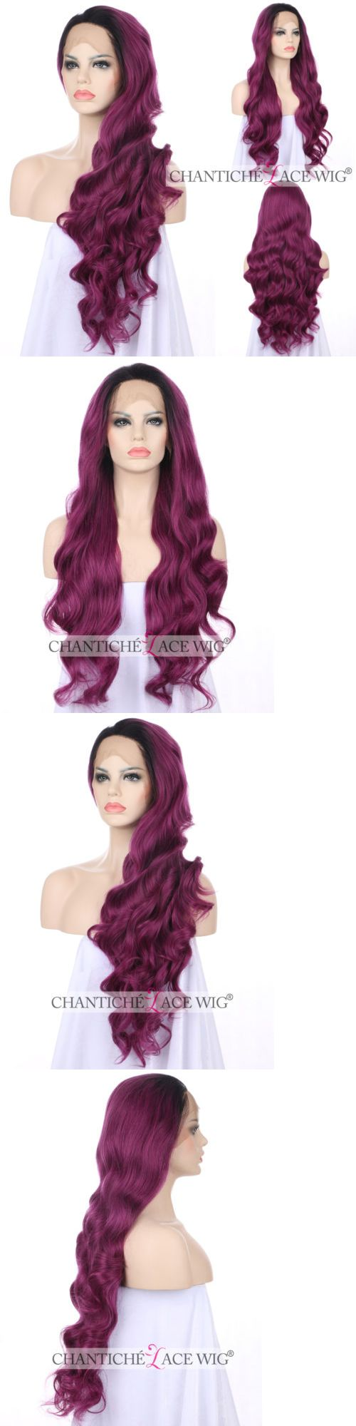 Wigs and Hairpieces: Women S Front Lace Wigs Synthetic Hair Ombre Purple Natural Wavy Heat Resistant -> BUY IT NOW ONLY: $45.99 on eBay!