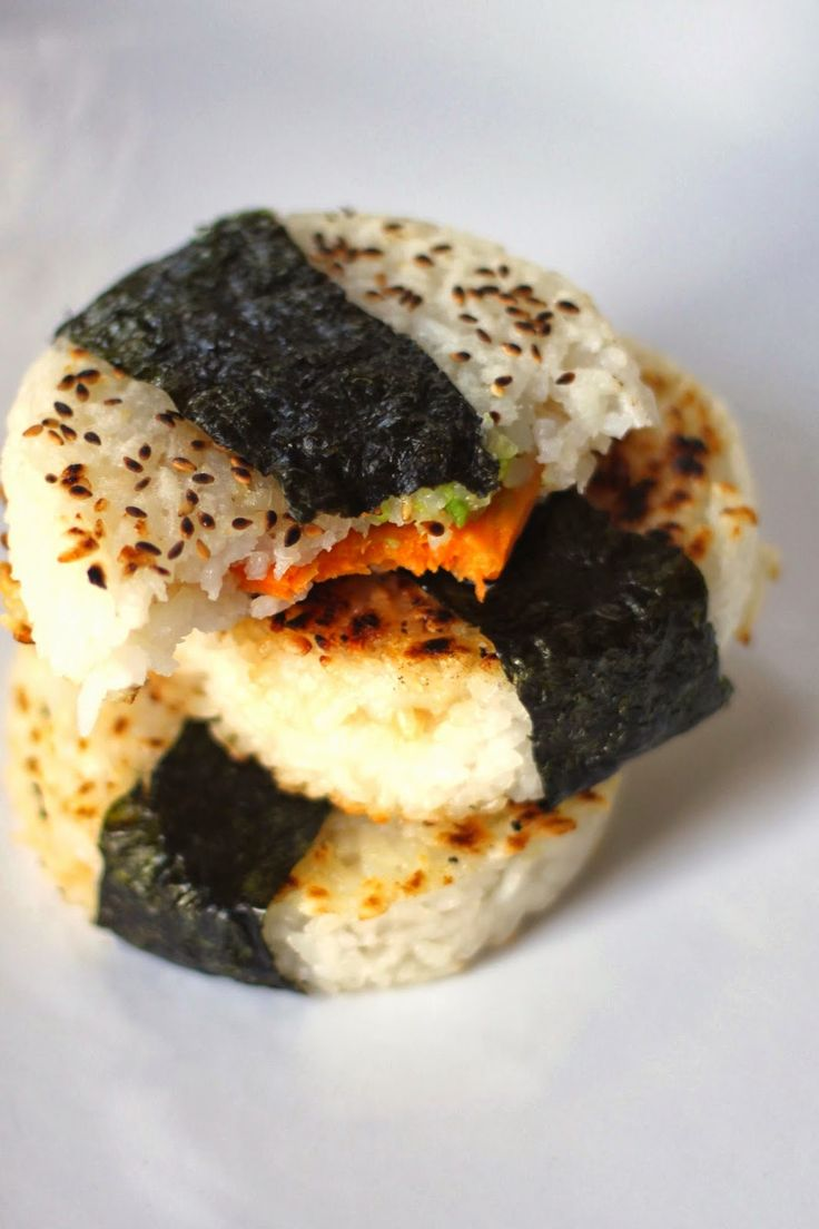 Jenessa's Dinners: Sweet Potato and Avocado Yaki Onigiri - just replace the honey with maple syrup or agave, or omit it, to make these #vegan.
