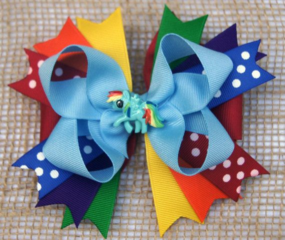 Rainbow Dash Boutique Spiky Hair Bow by CharmingHartBoutique