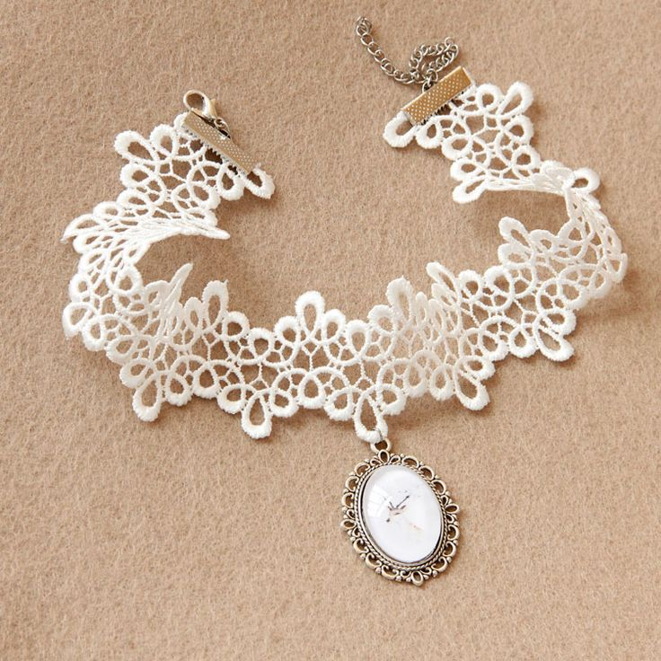 Lolita Punk Rock Gothic Goth White Lace Deer Charm Oval Jewel Choker Necklace on Luulla
