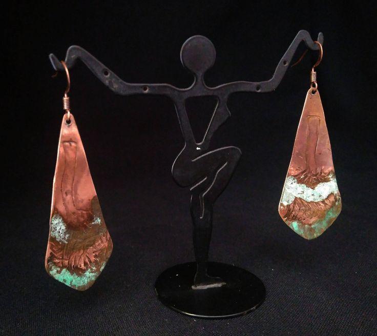 Beautiful Copper Elongated Earring by ixchelco on Etsy