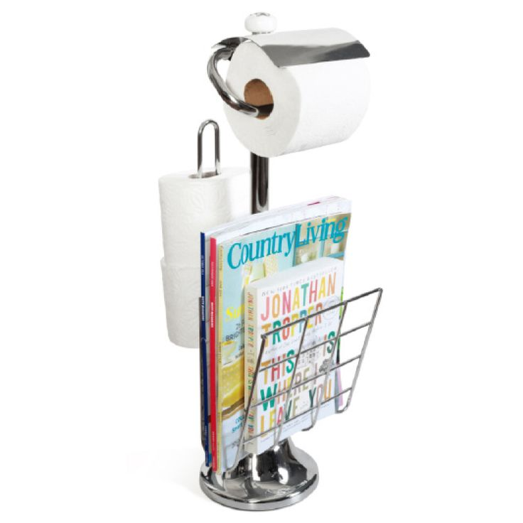 This metal paper towel holder available from Neat Freak online shop. Chrome. Useful for toilet paper.