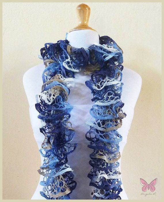 Ruffled Spiral Scarf Pattern Scarf Faded Jeans Ruffled Lace Scarf Flamenco Knitted