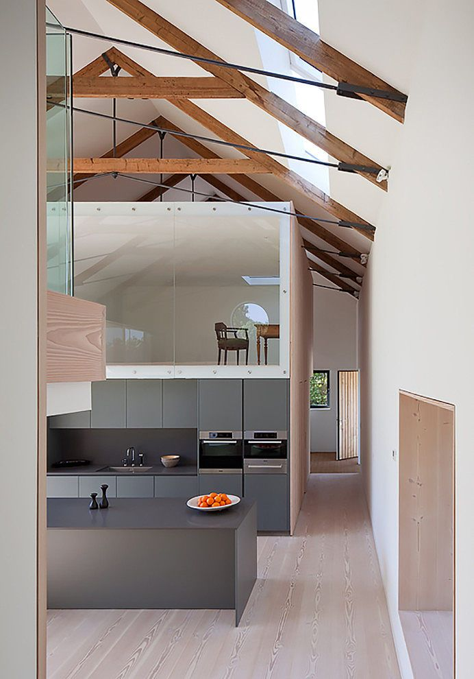 M House by Jamie Falla Architecture | Home Adore.  Ceiling detail (trusses and black steel supports) and color of cabinets and countertop